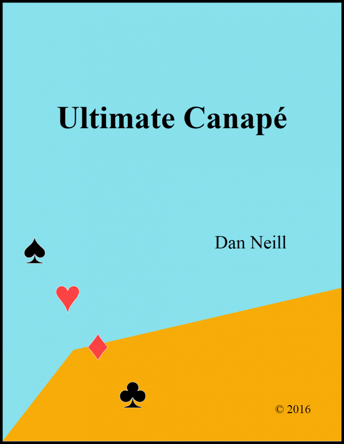 Blue background, suit symbols diagonal on the bottom left, orange field in bottom right - cover page for Ultimate Canape book